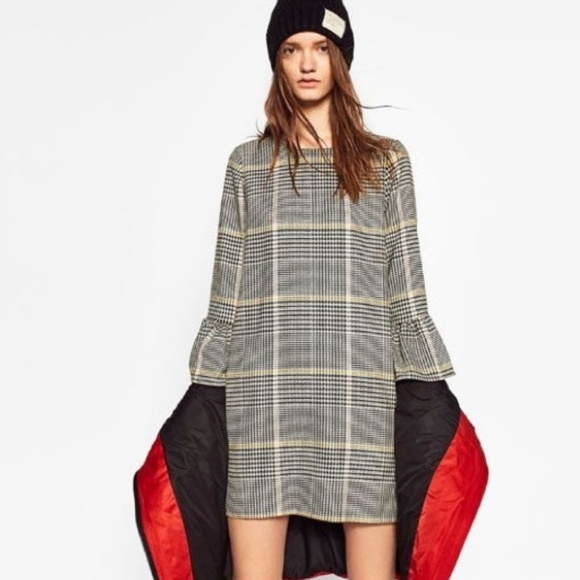 Zara Dresses & Skirts - Zara Glen Plaid Flounce Sleeve Shift